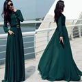Women Prom Ball Cocktail Party Dress Formal Gown Long Dress Green With Belt