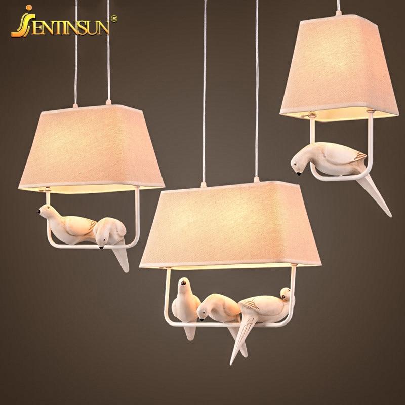 Nordic Style Bird Pendant Light Linen Cloth Hanging Lamp Home Fixture Lights for Restaurant Bar Bedroom Children Room Decoration