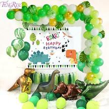 FENGRISE Dark Green Letax Balloons Palm Leaf Ballon Forest Wild One Birthday Party Decoration Kids Jungle Safari Baloon