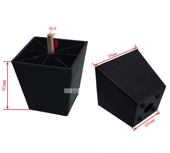 H:93mm  M10  Black Plastic Square Shaped  Heighten Foot Sofa Table Cabinet Legs Feet бур makita b 11994