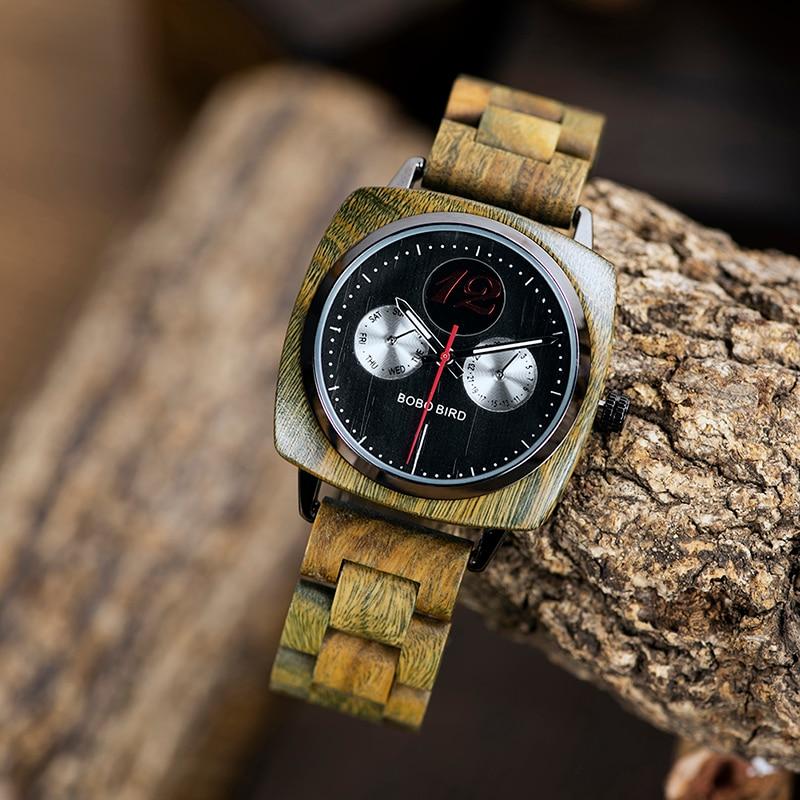 DemüTigen Männer Uhr Holz Quarz Armbanduhr Männlichen Saat Erkek Bobo Vogel Zeigen Datum Woche Schaffen Uhr Geschenk In Holz Box Herrenuhren Uhren