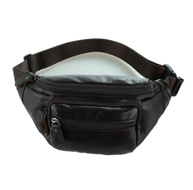 Nesitu Best High Quality Coffee Vintage Cowhide 100% Guarantee Real First Layer Genuine Leather Waist Bags #M7218