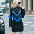 [TWOTWINSTYLE] Spring Korean Beading Tassels Long Sleeve Black Dress Women New Fashion Clothing