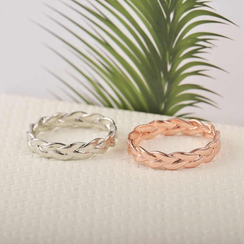 Модное креативное женское кольцо с закрытой цепью золотого цвета, простое ретро кольцо с закручивающейся цепью, женские свадебные ювелирные изделия, полные размеры, оптовая продажа