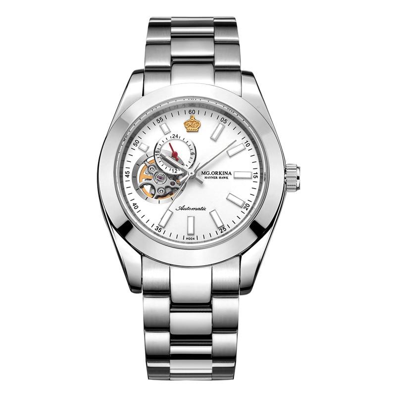ORKINA Watch male movement automatic mechanical watch steel belt hollow luminous men's watch business fashion waterproof men's