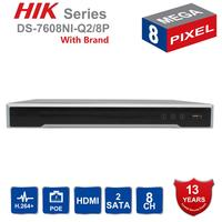 Original Hikvision 8CH NVR DS 7608NI Q2/8P 8 Channel 8 Independent POE NVR for POE Camera 8MP Max 2 SATA Network Video Recorder