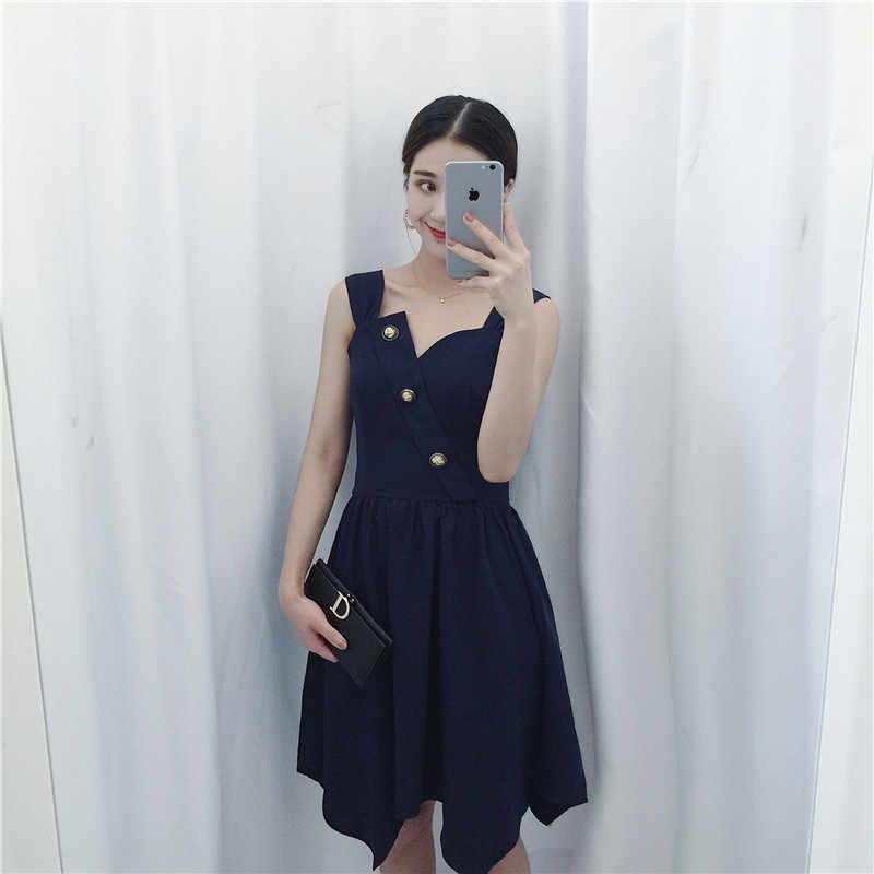 Hohe Qualität 2017 Neue luxus CosMaMa Marke sommer korea mode sexy lange v-ausschnitt bandage taste vorne beliebte kleid blau