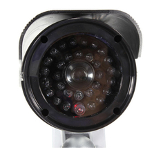 2 Packs 2X Quality Solar Powered Dummy Surveillance Red LED Light Security CCTV Camera Silver