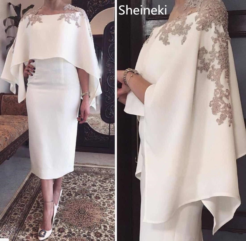 US $121.06 39% OFF|White Appliques Column Tea Length Pearls Jewel Neck Plus  Size Mother of the Bride Dresses Formal Mother\'s Dress robe de mariee-in ...