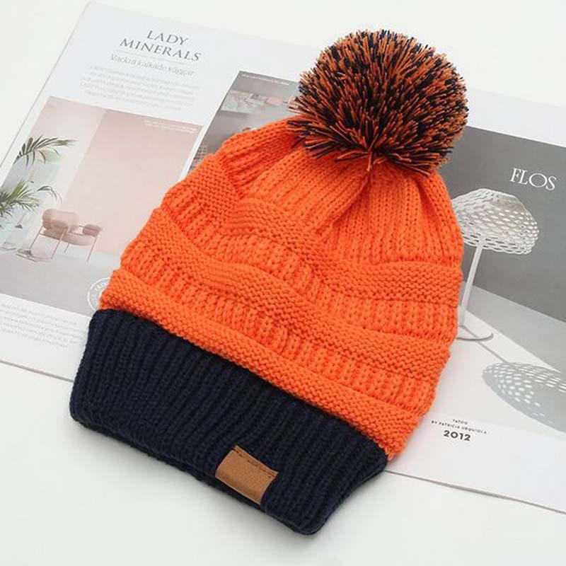 XEONGKVI Korean Fashion Double Color Knitted Caps Brand Autumn Winter Hats Women Upset Add Wool Inside   Skullies     Beanies   Pompom