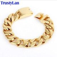 TrustyLan 17 MM Geniş Altın Bilezik Erkekler Moda Marka Erkek Takı Altın Renk Link Zinciri Bağlantı Erkek Bilezik Iyi Arkadaşları bilezik