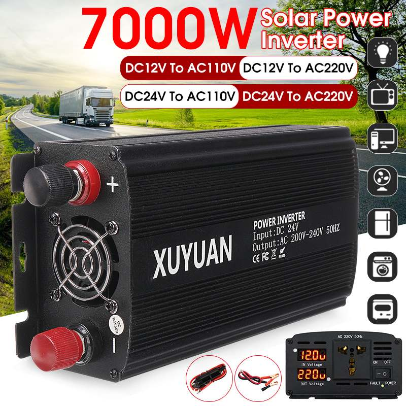 7000W Solar Inverter 12V/24V 110/220 Voltage Modified Sine Wave+2 LED Display USB Car Adapter Charge Converter Transformer