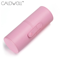 CALDWELL Empty Portable Travel Makeup Brushes Round Cosmetic Case PU Leather Cup Brush Holder Tube Storage