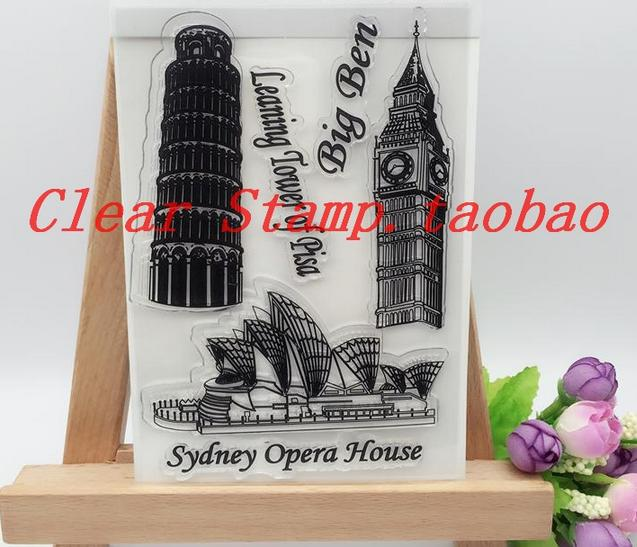DIY Scrapbooking Albums Sydney Opera House Rubber Stamp Big Ben Album PDA Lights Seal Transparent Seal Leaning Tower Pisa Stamps kehlani sydney