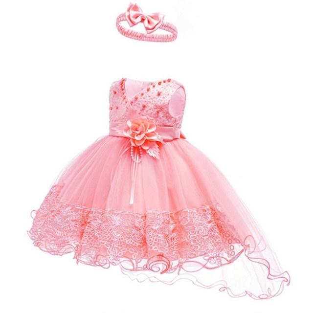 1e738ccad4 Kwiat Dziewczyny Suknia Ślubna Dziewczynek Chrzest Ciasto Suknie dla Party  Okazje Dzieci 1 Rok Baby Girl