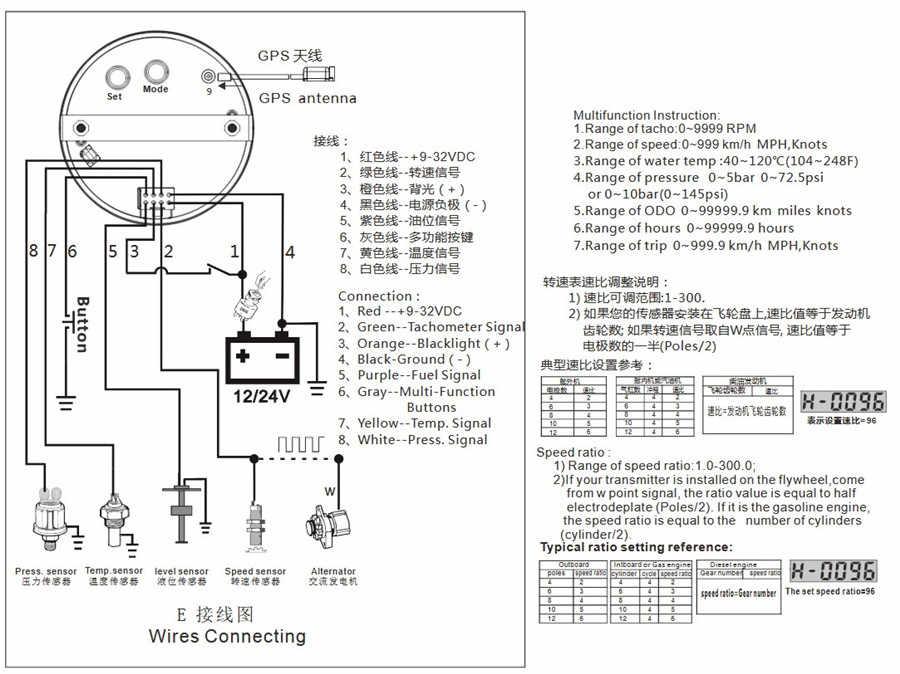6 In 1 Multi Functional Gauge Meter 85mm Car Gps Speedometer Truck Boat Digital Lcd Speed Gauge