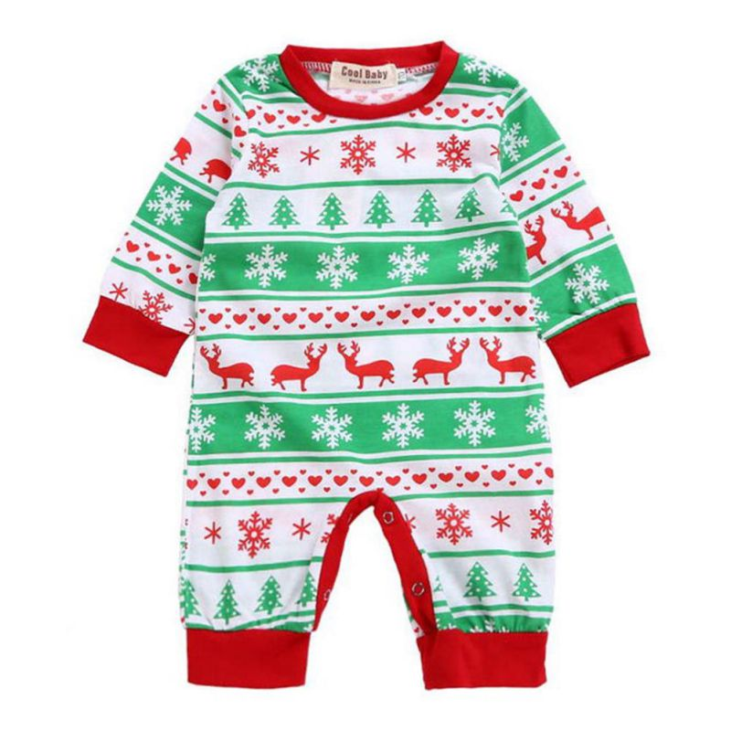 2017 Autumn Casual Jumpsuit Fashion Girl Boy Moose Deer Newborn Long Sleeve Cotton Christmas Romper Clothing