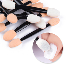 20Pcs Nude Double-ended Sponge Nail Powder Puff Brush 2 Colors Professional Eyeshadow Stick Makeup Manicure Beatty Nail Art Tool