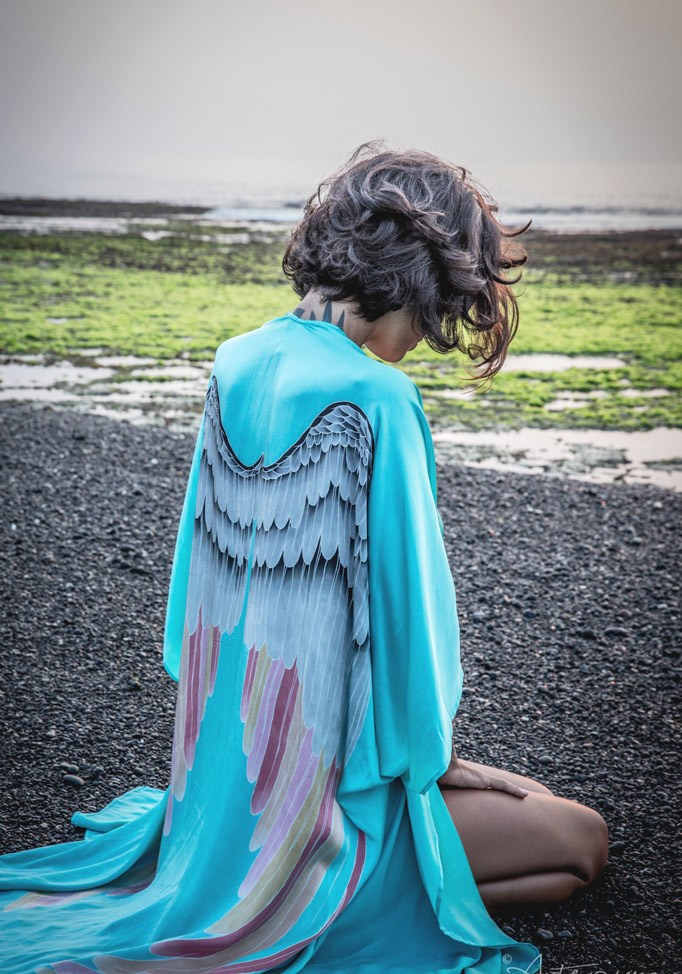 Women Summer Back Angel Wings Print Cardigan Kimono Batwing Sleeve Coat European Loose Jacket Casual Sweater Tops Outwear