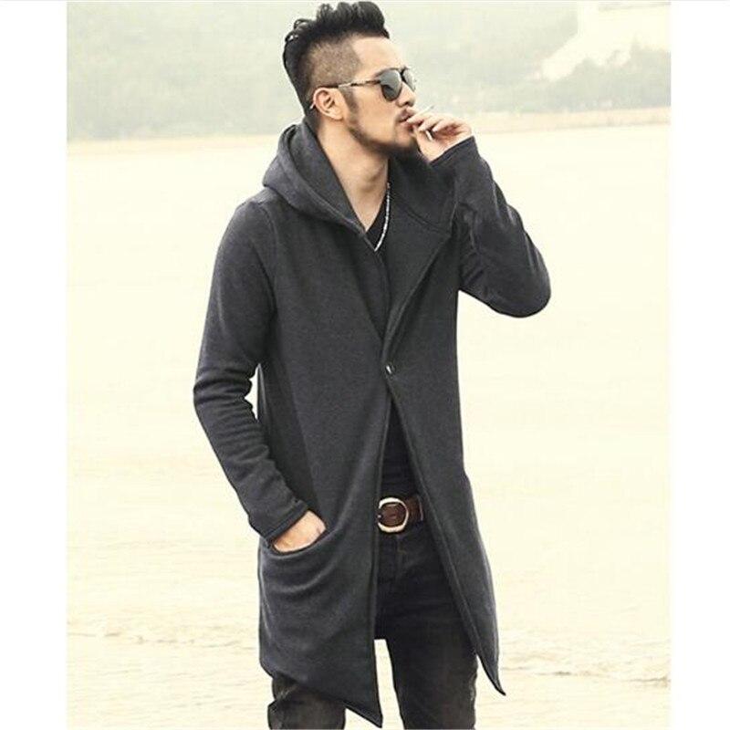 Européenne black Gray Cardigan Hommes Mode Style 2017 Mince Épais Manteau Polaire Hiver Gray Automne Long Chapeau Noir Casual De Coton dark Avec Tronçon x6wTv4qBR