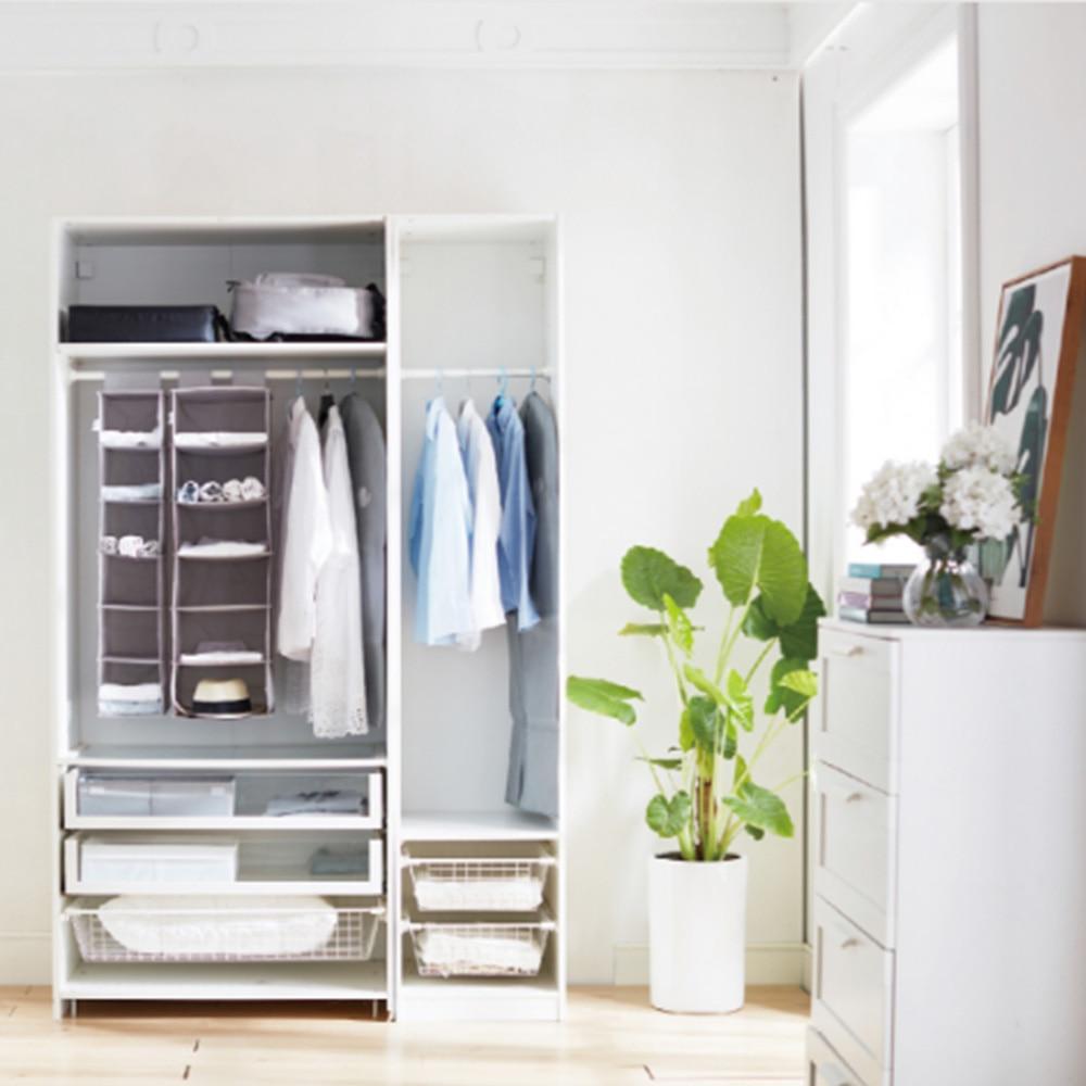 Foldable 6-Shelf Fabric Hanging Closet Organizer for Accessory and Clothes Storage with Garment Rod Closet Organizer