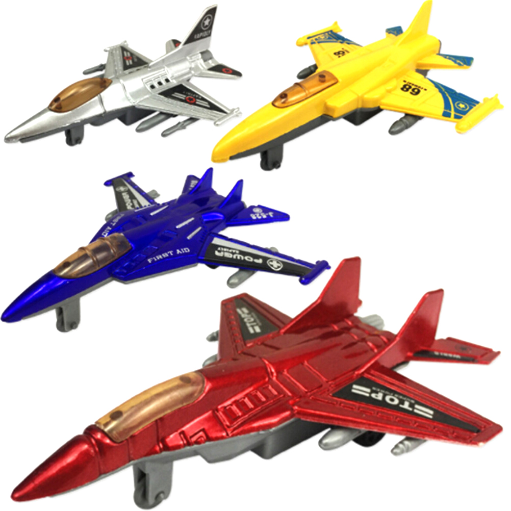 New 4 Colors Plastic Military Airplane Fighter Model Kids Pull Back Plane Christmas Gift