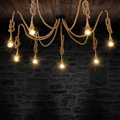 8 heads Style Loft Industrial Pendant Light Fixture Dinning Room Hemp Rope Lamp Vintage Lights LED Edison Style vintage edison chandeliers high quality the waves hemp rope lamp candle lampholder pendant led coffee bars shop light fixture