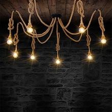8 heads Style Loft Industrial Pendant Light Fixture Dinning Room Hemp Rope Lamp Vintage Lights LED Edison Style vintage wicker pendant lamp hand made knitted hemp rope iron coffee shop pendant lamps loft lamp american lamp free shipping