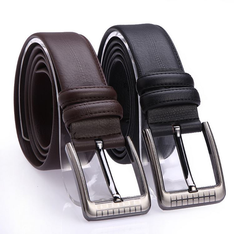 Men's High Quality Luxury Brand Real Leather   Belt   Pin Buckle Black Business Trouser Strap Cinturones Hombre Cinto