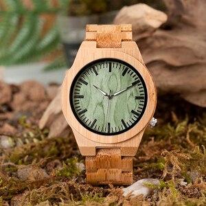 Image 4 - BOBO oiseau V B22 Original bambou montre pour homme classique pliant fermoir Quartz mouvement montre bracelet erkek kol saati
