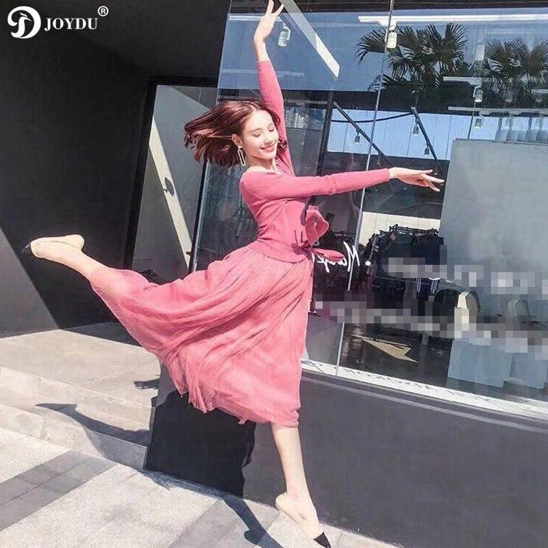 Up Automne Mesh Robes Joydu Chic Coréenne Doux V cou Haute Dentelle Taille Patchwork apricot Partie Enveloppé Nouvelle Tricoté Robe Longue Femmes red Black 2018 RwwqE4OrX
