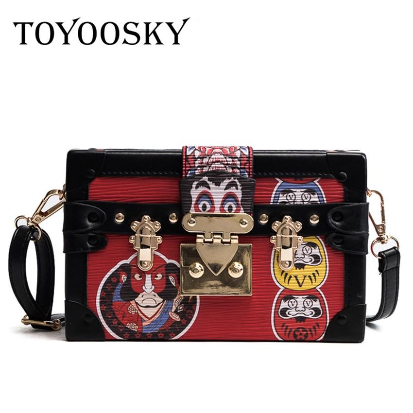 4a161f5e8609 TOYOOSKY Women Handbags Crossbody Small Box Bags Cartoon Print Shoulder Bags  Lock Pu Leather Ladies Square Bags Bolsas Femininas