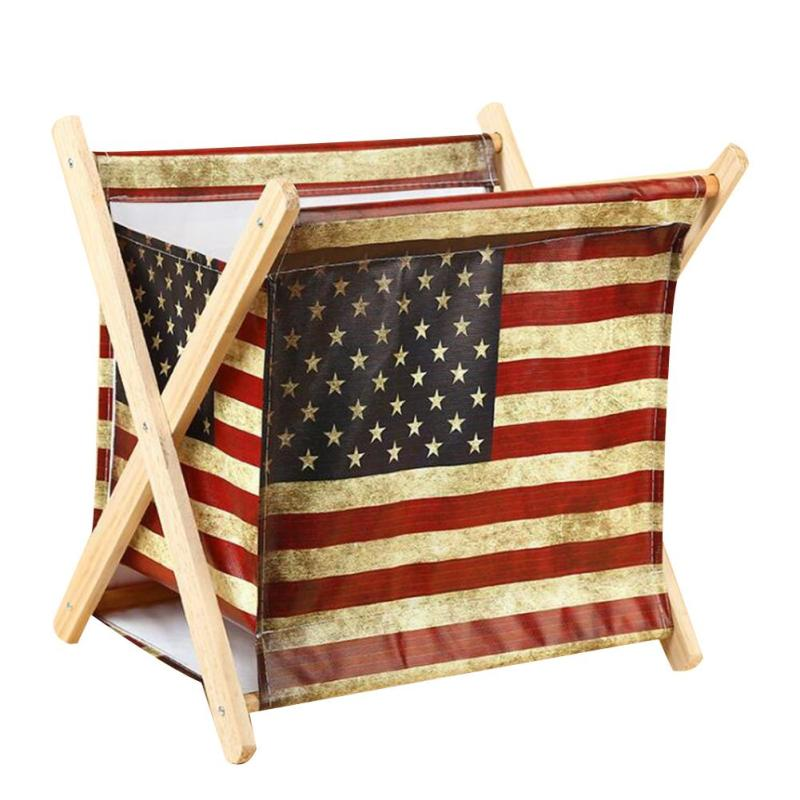 Waterproof Wood Storage Box: Canvas Storage Rack Wooden Shelf Waterproof Folding Multi