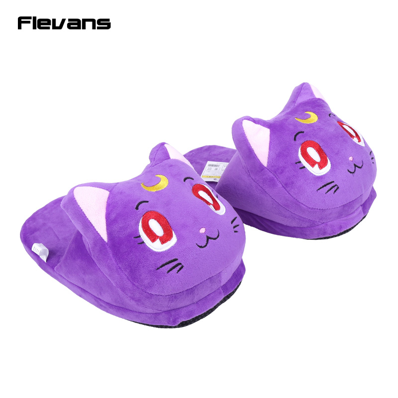 Anime Cartoon Sailor Moon Luna / Artemis Plush Slippers Shoes Home House Winter Slippers Plush Toys 3 Colors