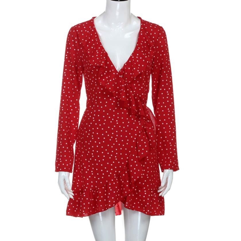 0fdc2d0161c1 Women s Summer Dresses Sexy Ruffles V Neck Mini Dress Long Sleeve Beach  Style Dot Chiffon Dress Red vestido largo floral-in Dresses from Women s  Clothing on ...