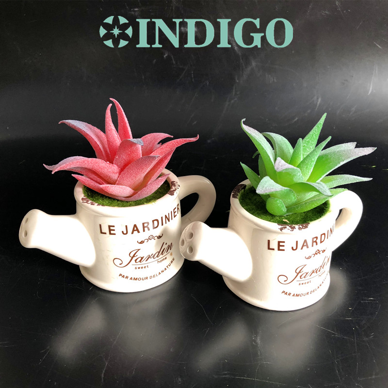 INDIGO- Aloes Succulent Plant Kettle Shape Bonsai Artificial Flower Office Table Decoration Green Plant Background Free Shipping