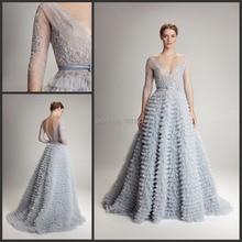 Erstaunliche Tiered A-Line Prom Kleider 2016 New Fashion V-ausschnitt spitze Halbe Sleeve Sash Backless Abendkleid Vestido de festa XY153