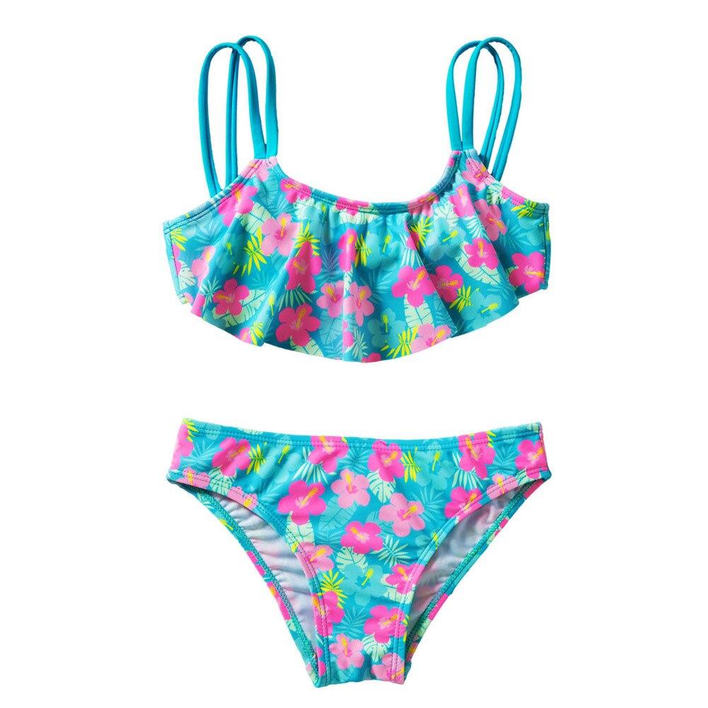 Girls Printed Flower Bikini Swimsuit Lovely Kids Two Pieces Swimwear Children Tankini Beachwear Bathing Suit Girls Split Bikini