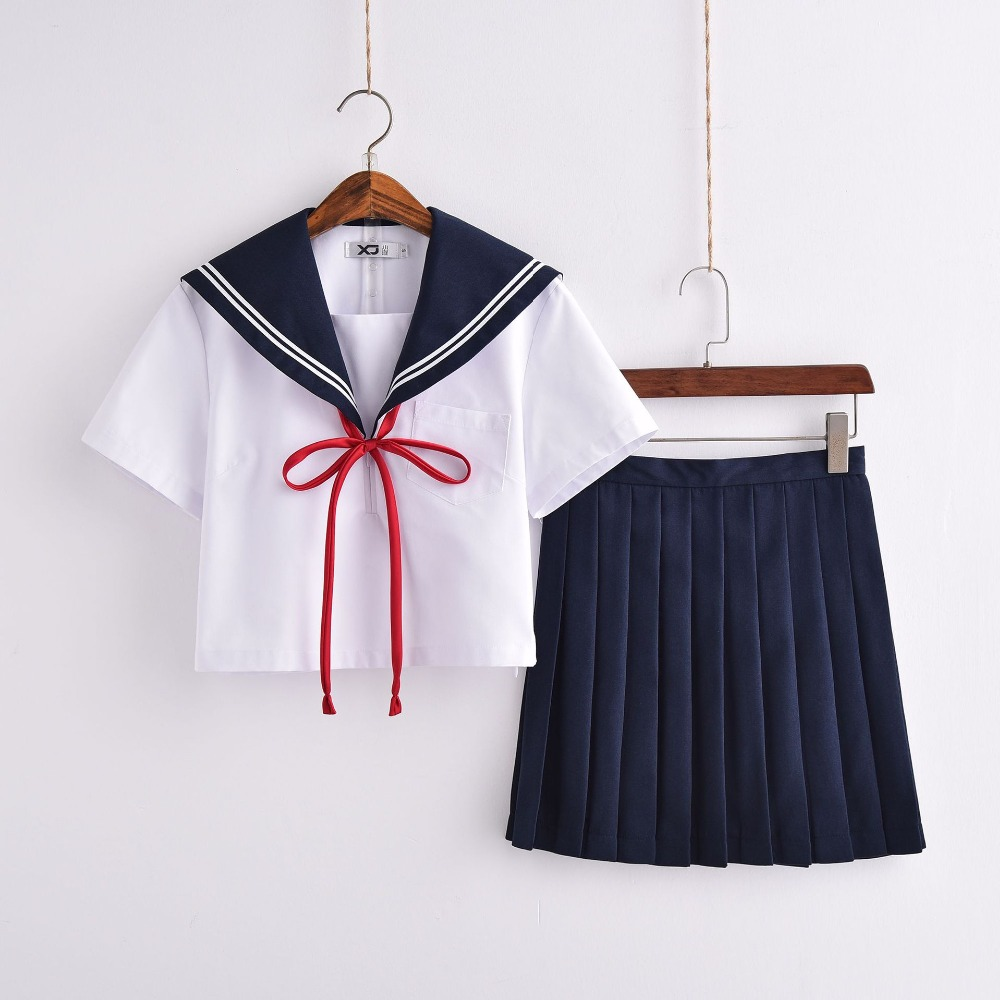 Japanese School Uniforms Anime COS Sailor Suit Tops+tie+skirt JK Navy Style Students Clothes For Girl Short Sleeve
