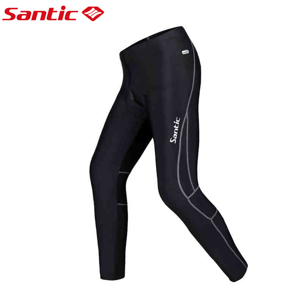Santic Spring Cycling Pants Men Long Pants Cycling Pants Cycling Bike Riding Mens Padded Gel Black Pants Cycling 3XL MC04015