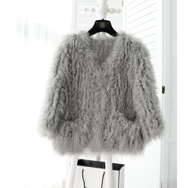 New ! fashion ! genuine Mongolia sheep fur /fleece fur  knitted fur coat  grey color short style with pockets decorate