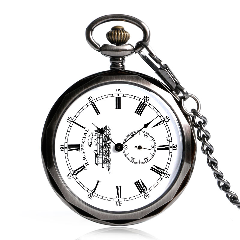 Black Open Face Roman Numers Mechanical Pocket Watch Fashion Hand Winding Ancient White Nurse Steampunk Men Women Chain Gift open face pocket watch pendant trendy hand winding vintage wind up fashion steampunk chain elegant mechanical pocket fob watches