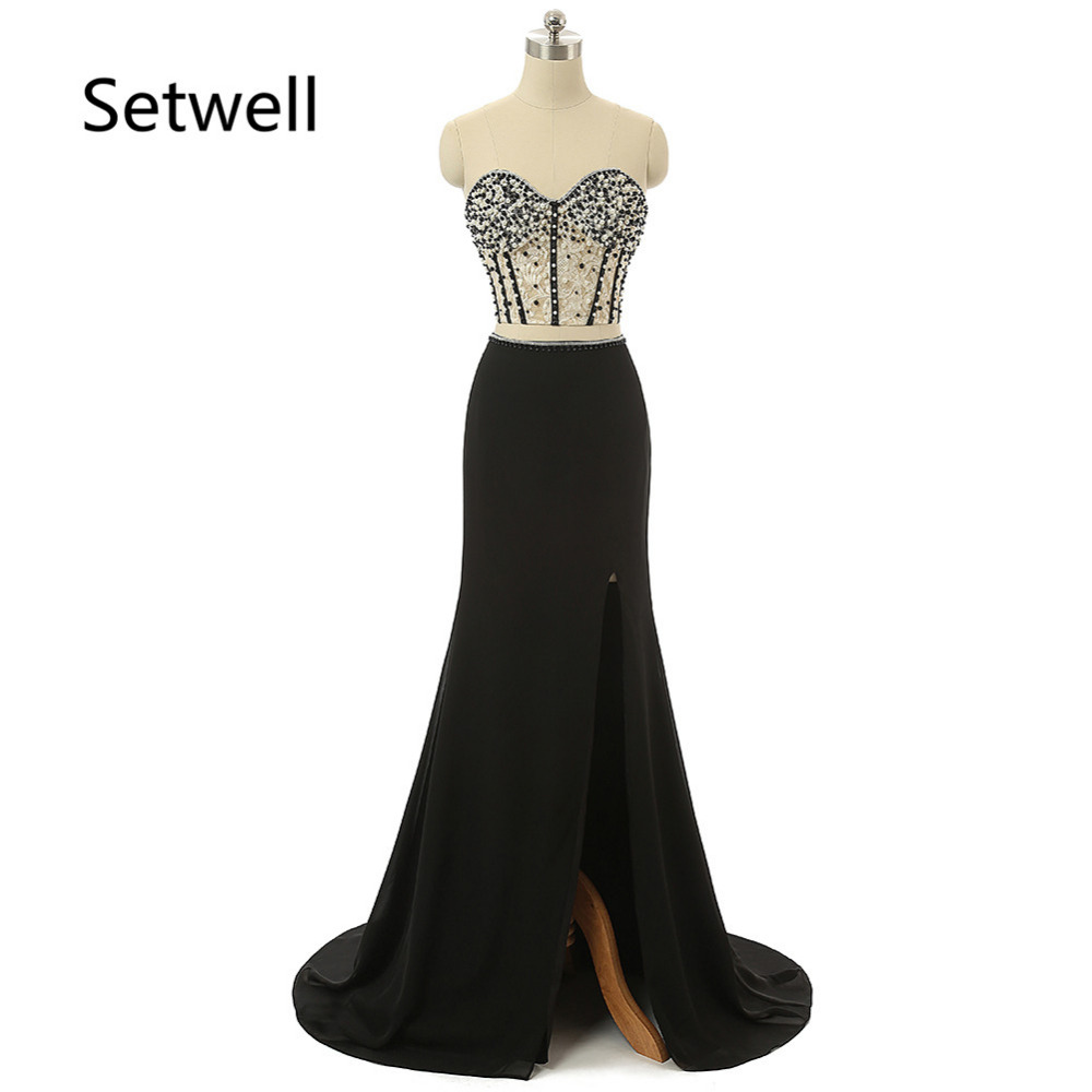 Setwell   Evening     Dresses   2017 Sexy Side Split Two Pieces Prom   Dress   Sweep Train Mermaid Lace Formal   Evening   Gowns With Pearls