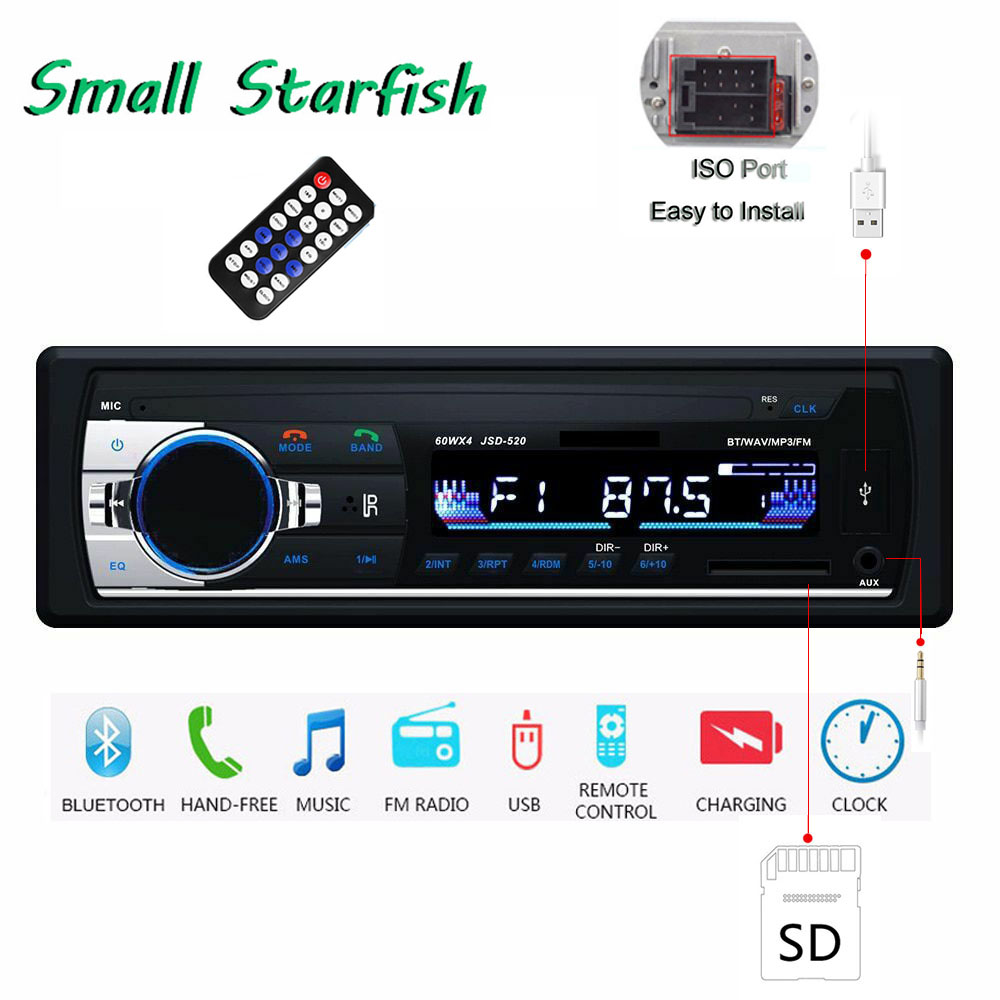 Car Autoradio 1 Din Stereo Car MP3 Player Bluetooth Autoradio Car Stereo Radio In-dash Audio SD USB Card Hands-free FM Aux Input image