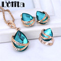 Free shipping New Fashion  Yellow Gold Filled resin Clear Austrian Crystal Necklace Earring Ring Wedding Jewelry Set ST061