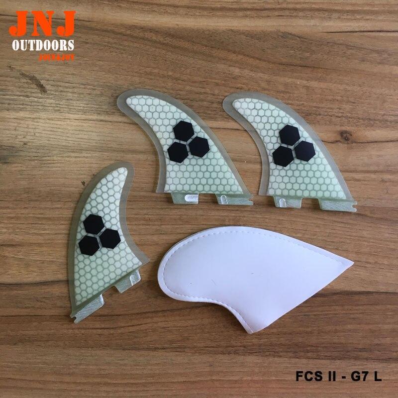 Livraison gratuite qualité FCS II G7 L surf ailerons 2 Grande taille propulseur fin en fiber de verre et en nid d'abeille