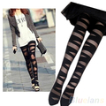 Hot Women Sexy Pantyhose Black Ripped Stretch Vintage Tights  Mock Stocking  0JR5