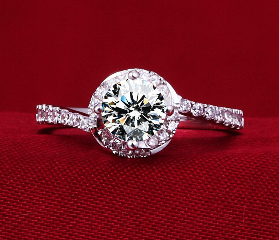 0.5 carat SONA synthetic diamond 925 sterling silver ring finger ring engagement bridal ring name customize ring (DFE)