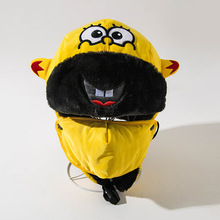 Cartoon Bomber Hats for Boys Winter Hat Girls Cap with Scarf Neck Cotton Snow Caps Fur Earflaps Russian Thicken Kids