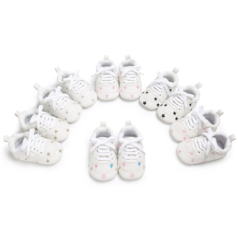 Classic Laced Star Pattern Men And Women Baby PU Toddler Shoes